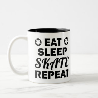 Eat Sleep Skate Repeat, Roller Derby Two-Tone Coffee Mug