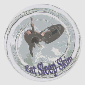 Eat,Sleep,Skim Round Sticker