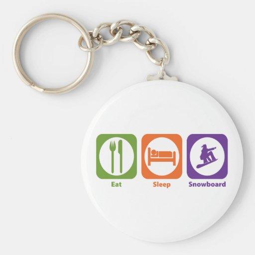 Eat Sleep Snowboard Basic Round Button Keychain
