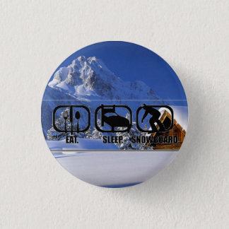 Eat Sleep Snowboard w/ winter wonderland 1 Inch Round Button