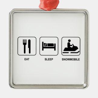 Eat Sleep Snowmobile Metal Ornament