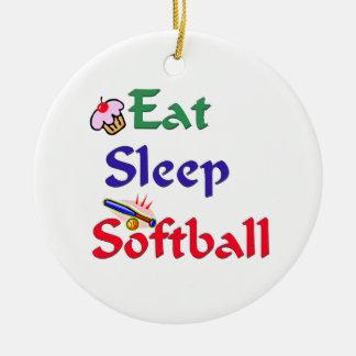 Eat Sleep Softball Ceramic Ornament