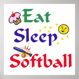 Eat Sleep Softball Print