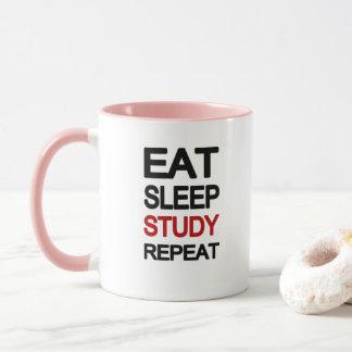 Eat sleep study repeat mug