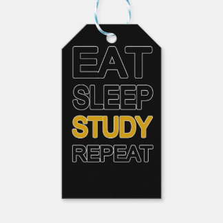 Eat sleep study repeat pack of gift tags