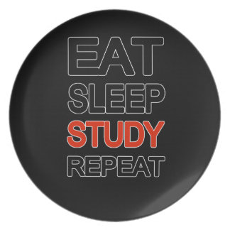 Eat sleep study repeat party plate
