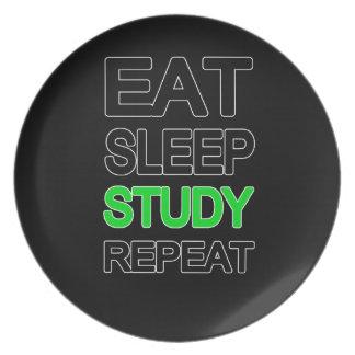 Eat sleep study repeat plates
