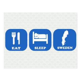 Eat Sleep Sweden Postcard