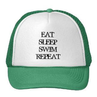 EAT SLEEP SWIM REPEAT swimming coach sports hat