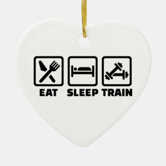 Eat Sleep Train Bodybuilding Ceramic Ornament