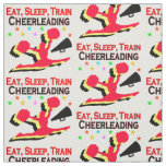 EAT, SLEEP TRAIN CHEERLEADING RED DESIGN FABRIC