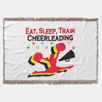 EAT, SLEEP TRAIN CHEERLEADING RED DESIGN THROW BLANKET