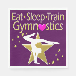 EAT SLEEP TRAIN GYMNASTICS DESIGN PAPER NAPKINS
