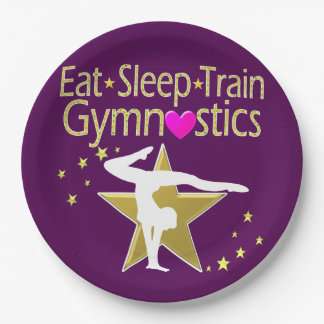 EAT SLEEP TRAIN GYMNASTICS DESIGN PAPER PLATE
