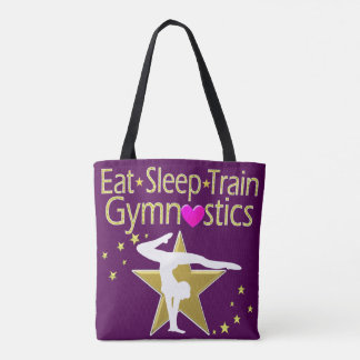 EAT SLEEP TRAIN GYMNASTICS DESIGN TOTE BAG