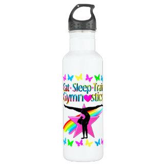EAT SLEEP TRAIN GYMNASTICS RAINBOW DESIGN 710 ML WATER BOTTLE