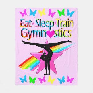 EAT SLEEP TRAIN GYMNASTICS RAINBOW DESIGN FLEECE BLANKET