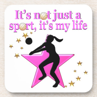 EAT, SLEEP, TRAIN, PINK VOLLEYBALL STAR DESIGN COASTERS