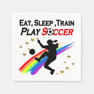 EAT, SLEEP TRAIN PLAY SOCCER ALL DAY LONG DISPOSABLE NAPKIN