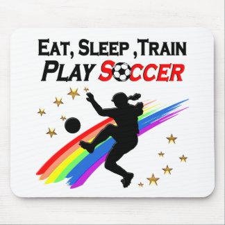 EAT, SLEEP TRAIN PLAY SOCCER ALL DAY LONG MOUSE PAD