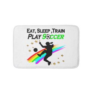 EAT, SLEEP, TRAIN PLAY SOCCER BATHROOM MAT