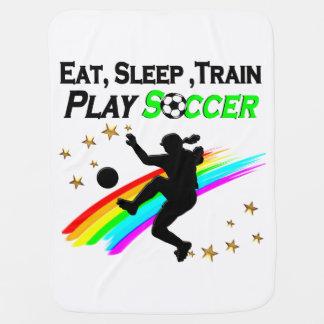 EAT, SLEEP, TRAIN PLAY SOCCER STROLLER BLANKETS