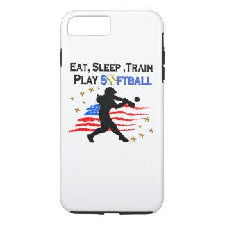 EAT, SLEEP, TRAIN PLAY SOFTBALL PATRIOTIC DESIGN iPhone 7 PLUS CASE