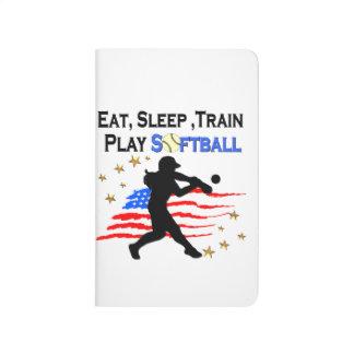 EAT, SLEEP, TRAIN PLAY SOFTBALL PATRIOTIC DESIGN JOURNALS
