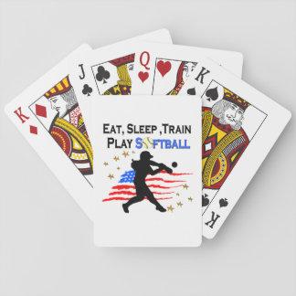 EAT, SLEEP, TRAIN PLAY SOFTBALL PATRIOTIC DESIGN PLAYING CARDS