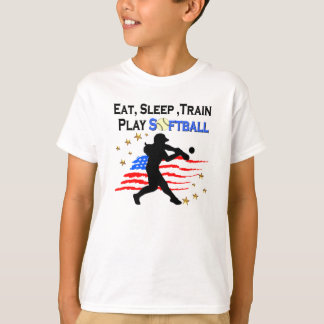 EAT, SLEEP, TRAIN PLAY SOFTBALL PATRIOTIC DESIGN T-Shirt