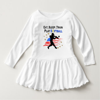 EAT, SLEEP, TRAIN PLAY SOFTBALL PATRIOTIC DESIGN TEE SHIRT