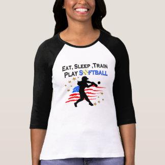 EAT, SLEEP, TRAIN PLAY SOFTBALL PATRIOTIC DESIGN TEES