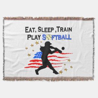 EAT, SLEEP, TRAIN PLAY SOFTBALL PATRIOTIC DESIGN THROW BLANKET
