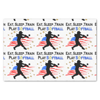 EAT, SLEEP, TRAIN PLAY SOFTBALL PATRIOTIC DESIGN TISSUE PAPER