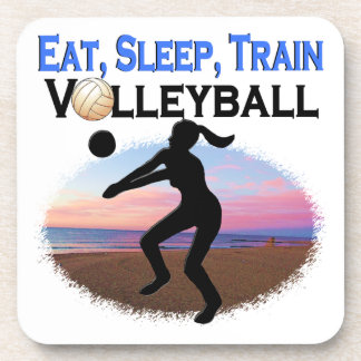 EAT, SLEEP, TRAIN VOLLEYBALL BEVERAGE COASTERS