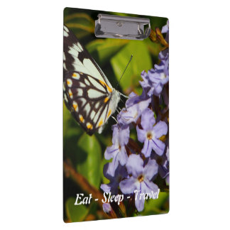Eat Sleep Travel Butterfly on flower clipboard