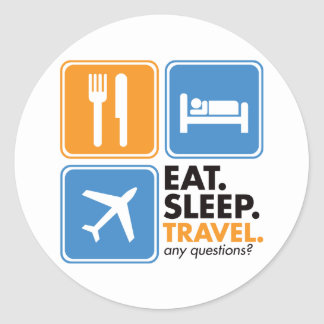 Eat Sleep Travel Classic Round Sticker