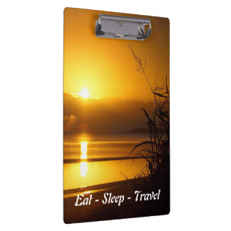 Eat Sleep Travel coastal sunrise clipboard