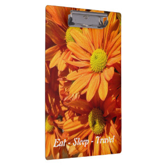 Eat Sleep Travel orange floral clipboard
