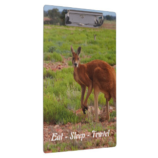 Eat Sleep Travel red kangaroo clipboard