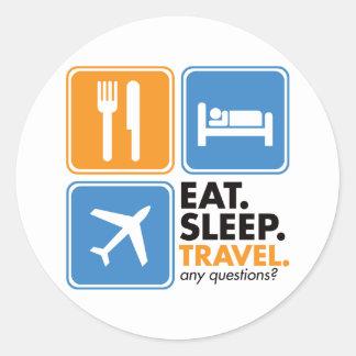 Eat Sleep Travel Round Sticker