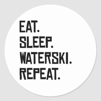 Eat Sleep Waterski Repeat Classic Round Sticker