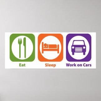 Eat Sleep Work on Cars Print