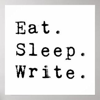 Eat Sleep Write Poster