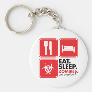 Eat Sleep Zombies - Red Basic Round Button Keychain