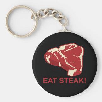 Eat STeak Basic Round Button Keychain