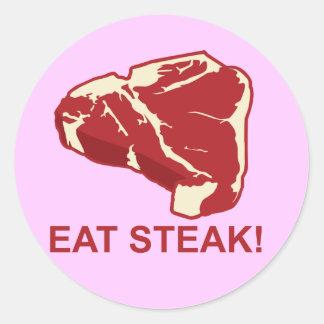 Eat STeak Round Sticker