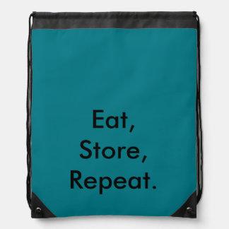 Eat, Store, Repeat. P.E Bag Drawstring Bags