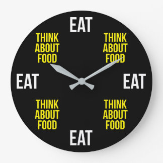Eat, Think About Food - Funny Novelty Large Clock