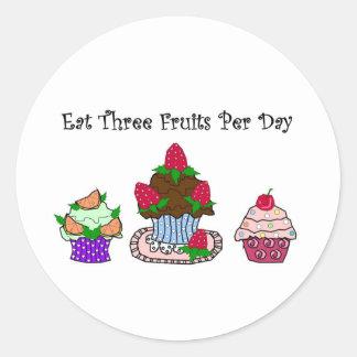 Eat Three Fruits Per Day Round Sticker